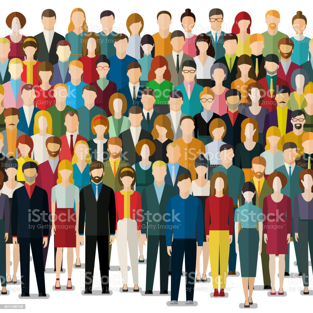 The crowd of abstract people. vector art illustration