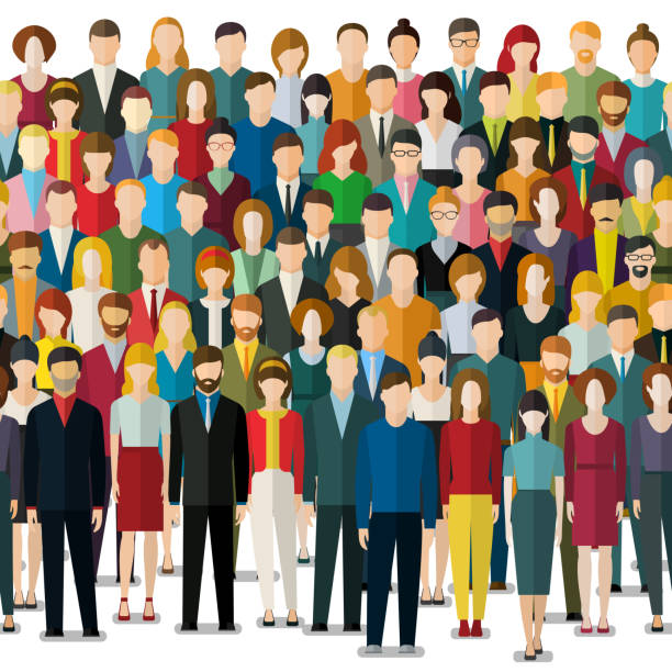The crowd of abstract people. The crowd of abstract people. Seamless background. Flat design, vector illustration. crowd of people stock illustrations