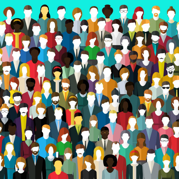 The crowd of abstract people. The crowd of abstract people. Seamless background. Flat design, vector illustration. community designs stock illustrations