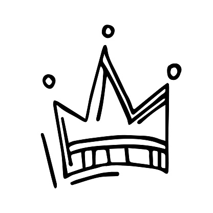 The crown is drawn in a linear style by hand drawn. The crown is isolated on a white background can be used for gender reveal party, children's room design, textiles, invitations