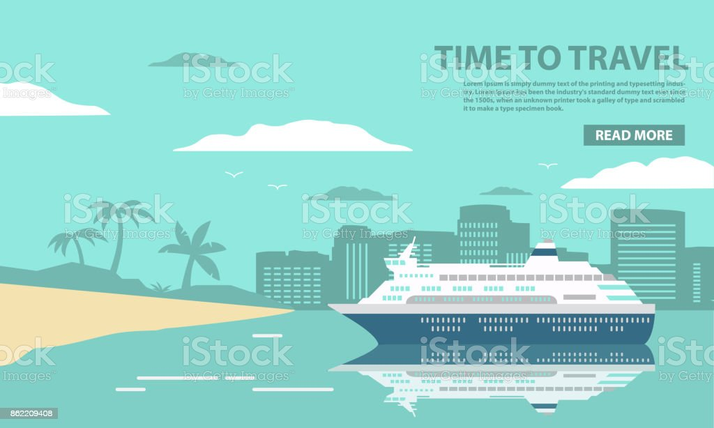 The cruise ocean liner passenger of a tropical sea landscape with palm trees and the sandy beach.