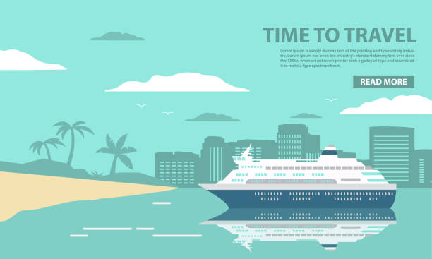 The cruise ocean liner passenger of a tropical sea landscape with palm trees and the sandy beach. The city on the island for summer holiday of tourists during the holiday.In flat a vector. cruise vacation stock illustrations