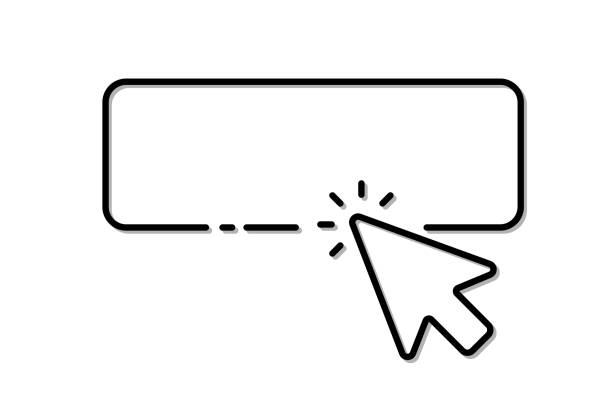 stockillustraties, clipart, cartoons en iconen met de cursor van de computermuis klikt op de knop - computermuis