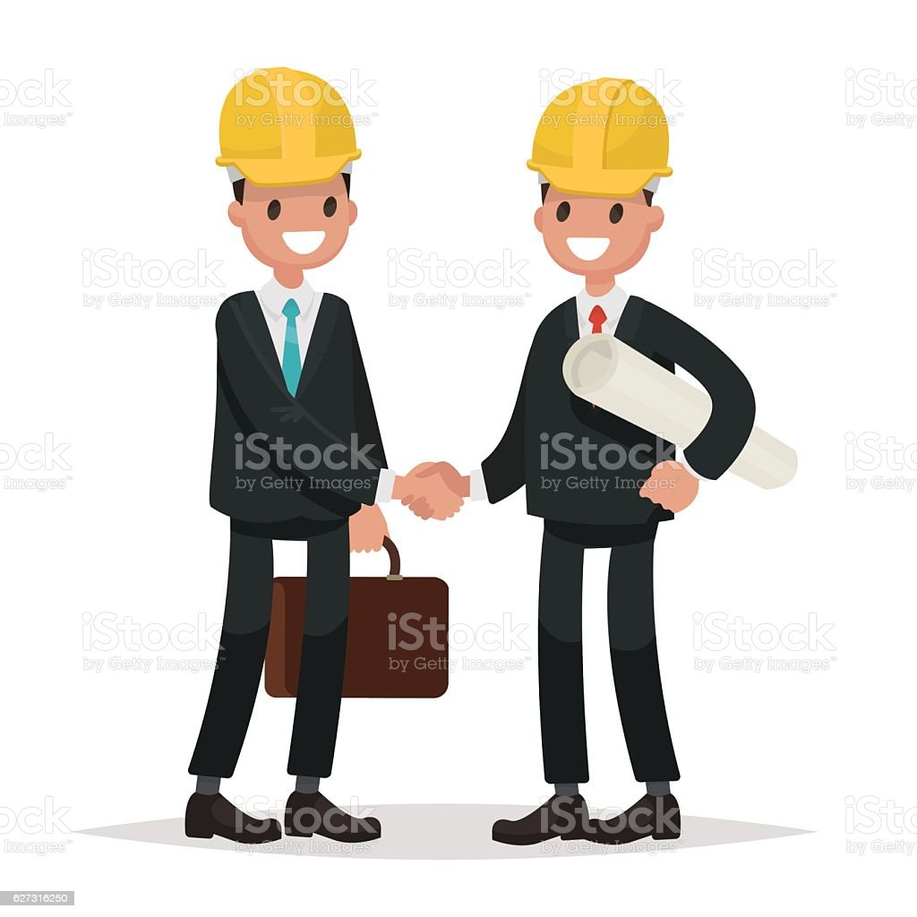 The customer and the contractor. Handshake men dressed in busine vector art illustration