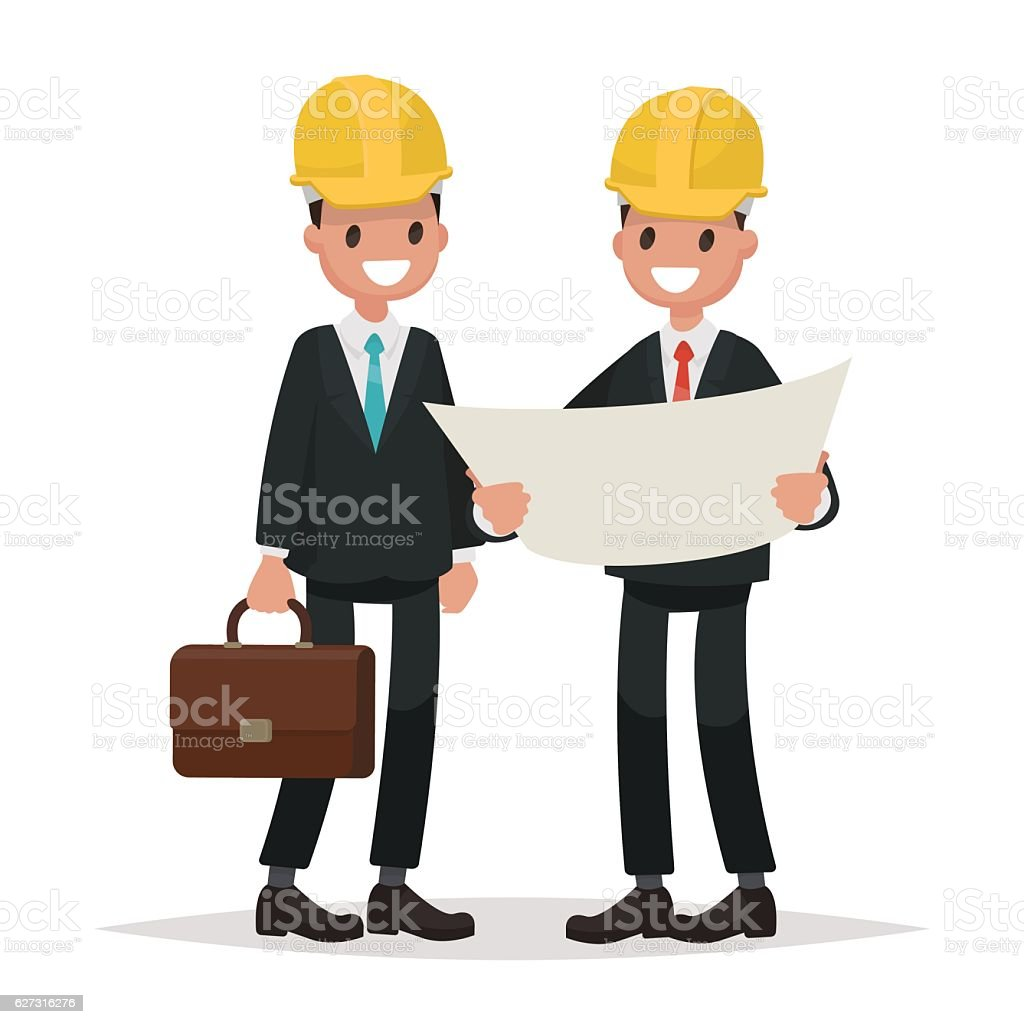 The customer and the contractor. Men dressed in business suits vector art illustration