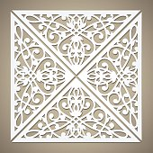 Vector cutout pattern in Eastern style on scroll work background. Ornamental die cut pattern for wedding invitations, greeting cards. May be used for laser cutting.