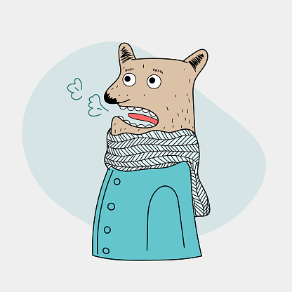 The cute bear is standing outdoors with quite cold weather.Doodle art concept,illustration painting