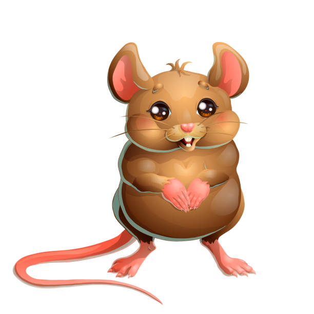 Bекторная иллюстрация The cute brown mouse on white background