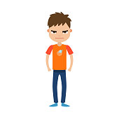 The cute brown-haired boy in the t-shirt with an emblem of the planets standing with an angry face. Facial emotions concept. Isolated vector icon illustration on white background in cartoon style.