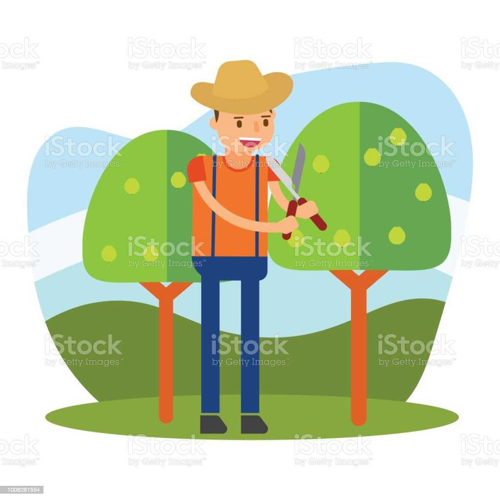 The Cute Farmer Who Is Planting Crops Guava Tree In The