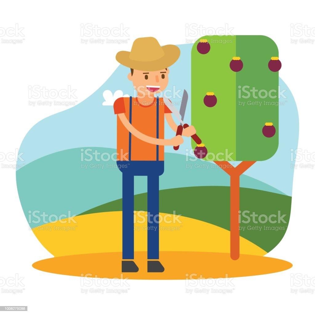 Ilustración de El Agricultor Lindo Que Es Plantar árboles De ...