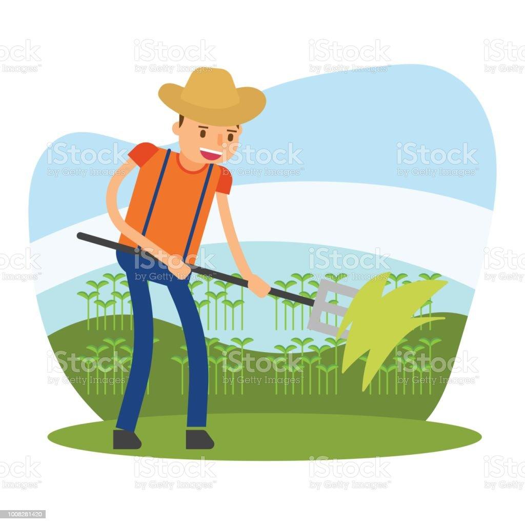 Ilustración de El Agricultor Lindo Que Es Plantar La Semilla De Los ...