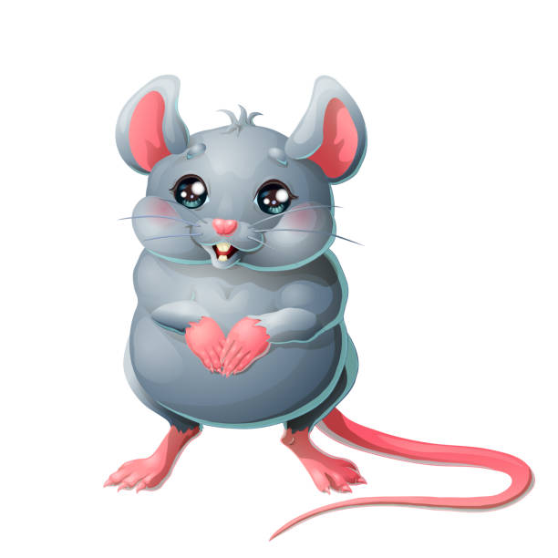 Bекторная иллюстрация The cute grey mouse on white background