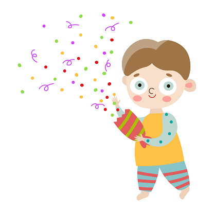 The cute happy smiling boy in striped pants with party cracker. Vector illustration in flat cartoon style.