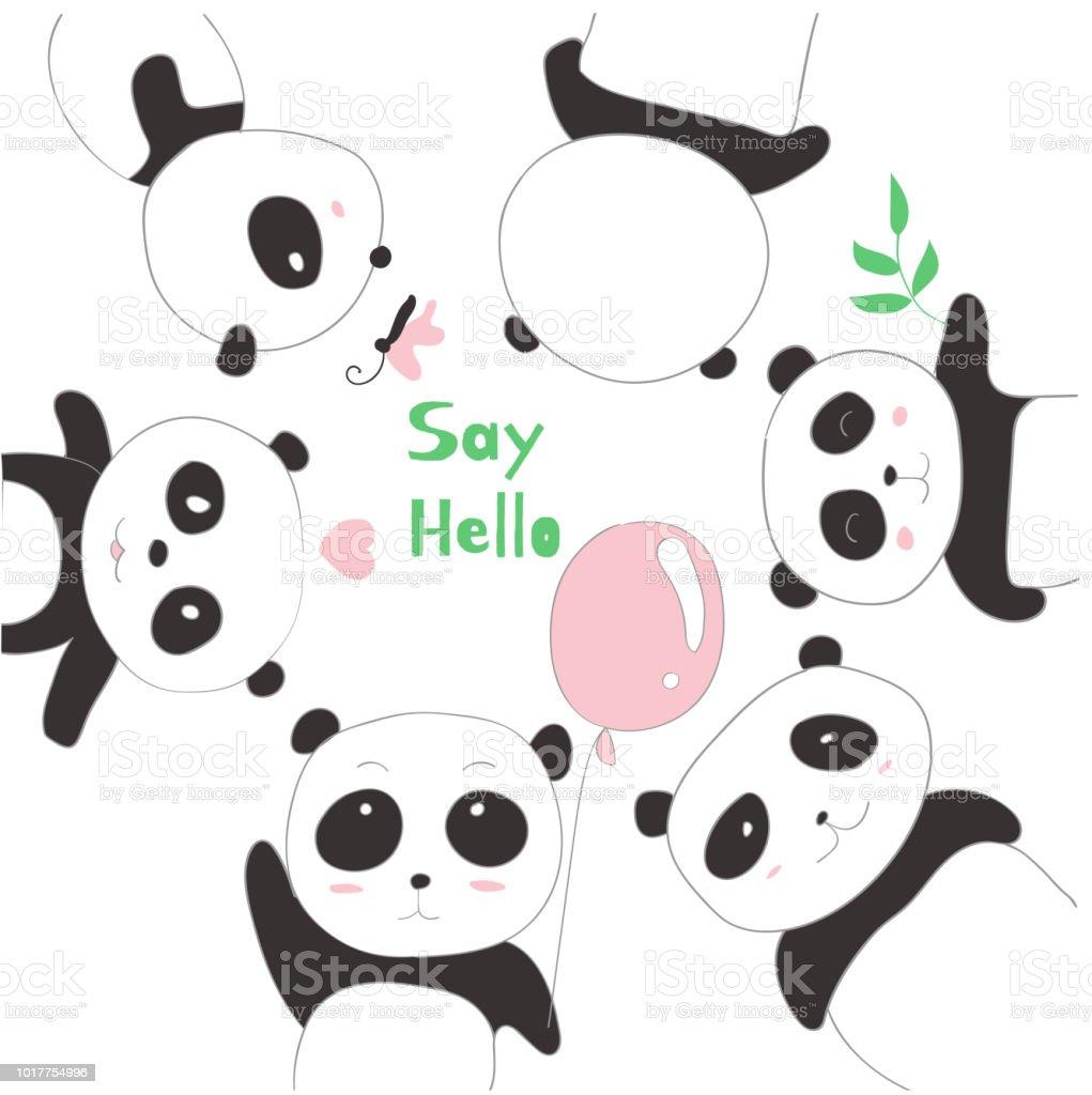 The Cute Panda Baby Cartoon Sketch Animal Style Stock Vector Art