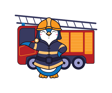 The cute penguin is a fireman. Funny animal character for little kid wearing firefighter uniform