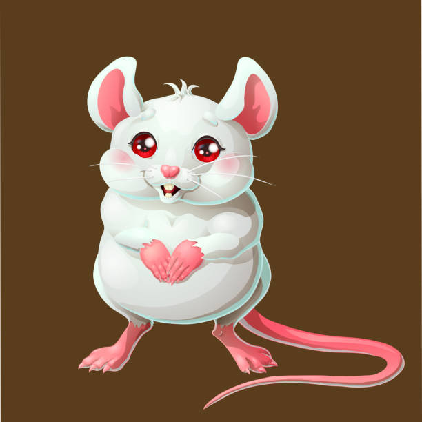 Bекторная иллюстрация The cute white mouse on brown background