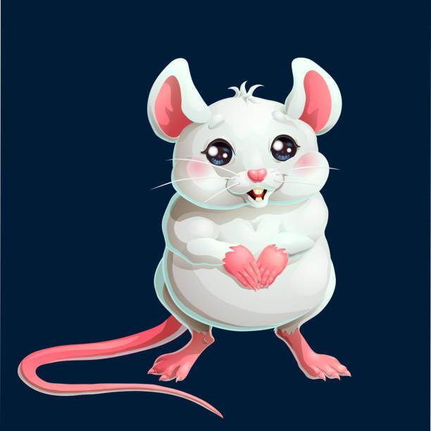 Bекторная иллюстрация The cute white mouse on dark blue background