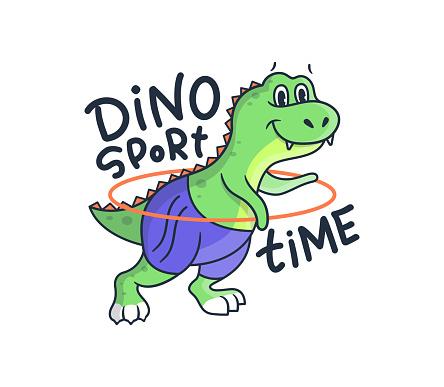 The cute woman dino does fitness exercises. Cartoonish sport dinosaur