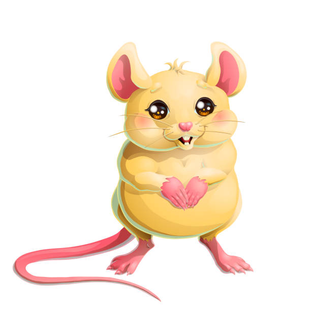 Bекторная иллюстрация The cute yellow mouse on white background