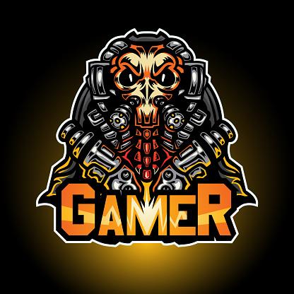 The cyber grim and gun, Mascot logo, Vector illustration.
