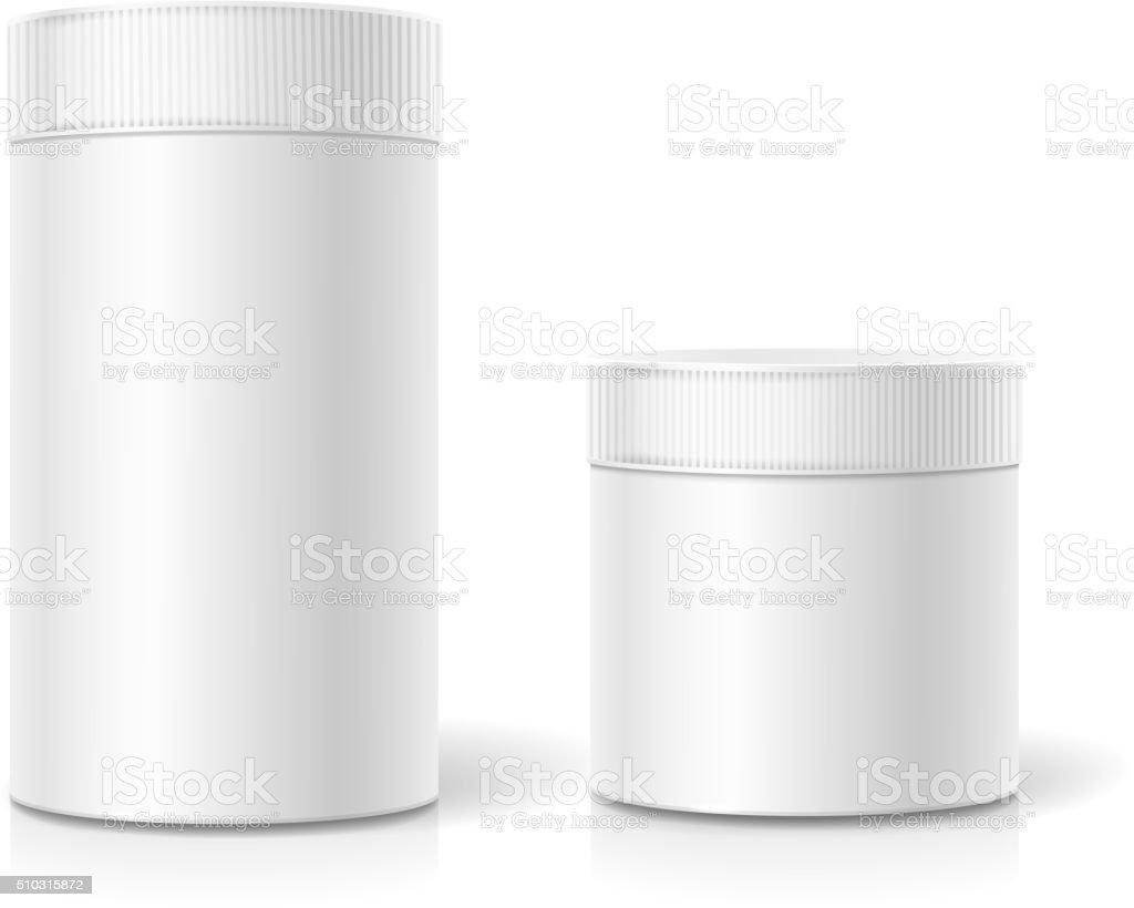 Das zylinderförmige-package. Leere weiße realistische im Feld – Vektorgrafik