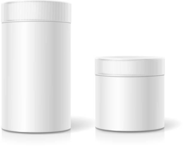 stockillustraties, clipart, cartoons en iconen met the cylindrical package. empty white realistic box - voorraadbus
