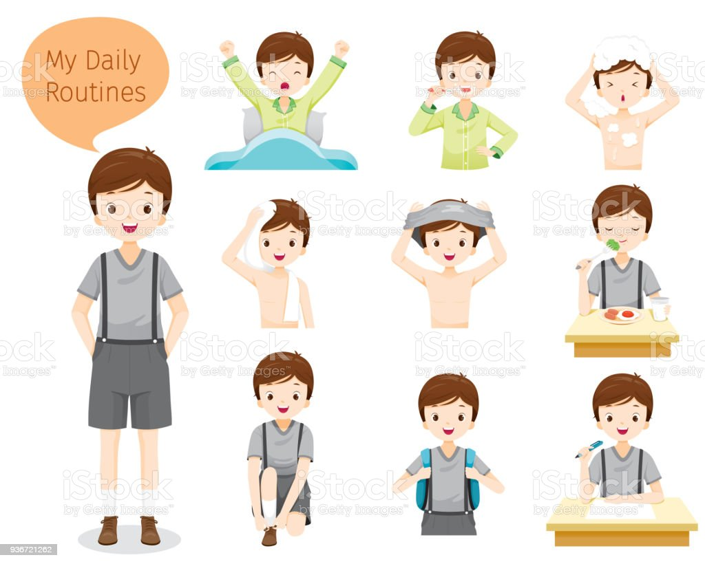 The Daily Routines Of Boy vector art illustration