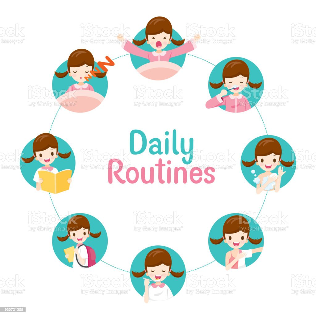 The Daily Routines Of Girl On Circle Chart vector art illustration