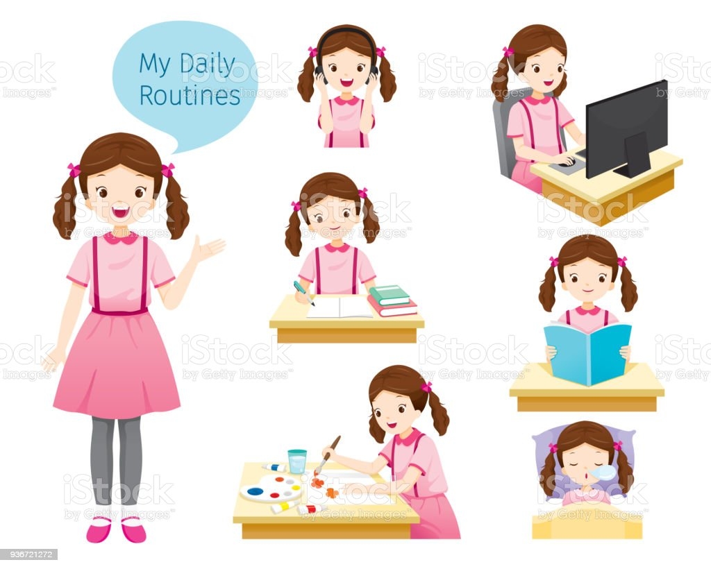 The Daily Routines Of Girl vector art illustration