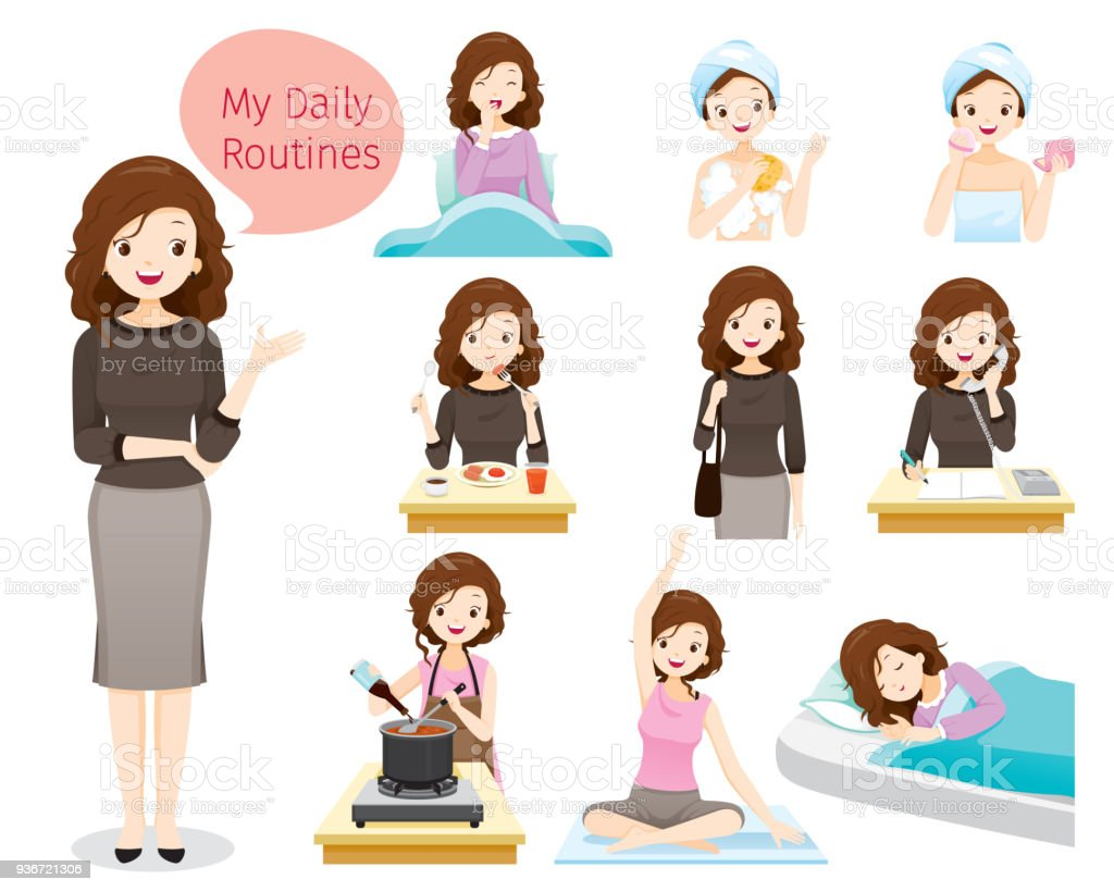 The Daily Routines Of Woman vector art illustration