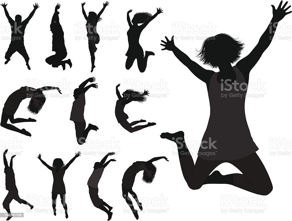 The Dancing Young People. vector art illustration