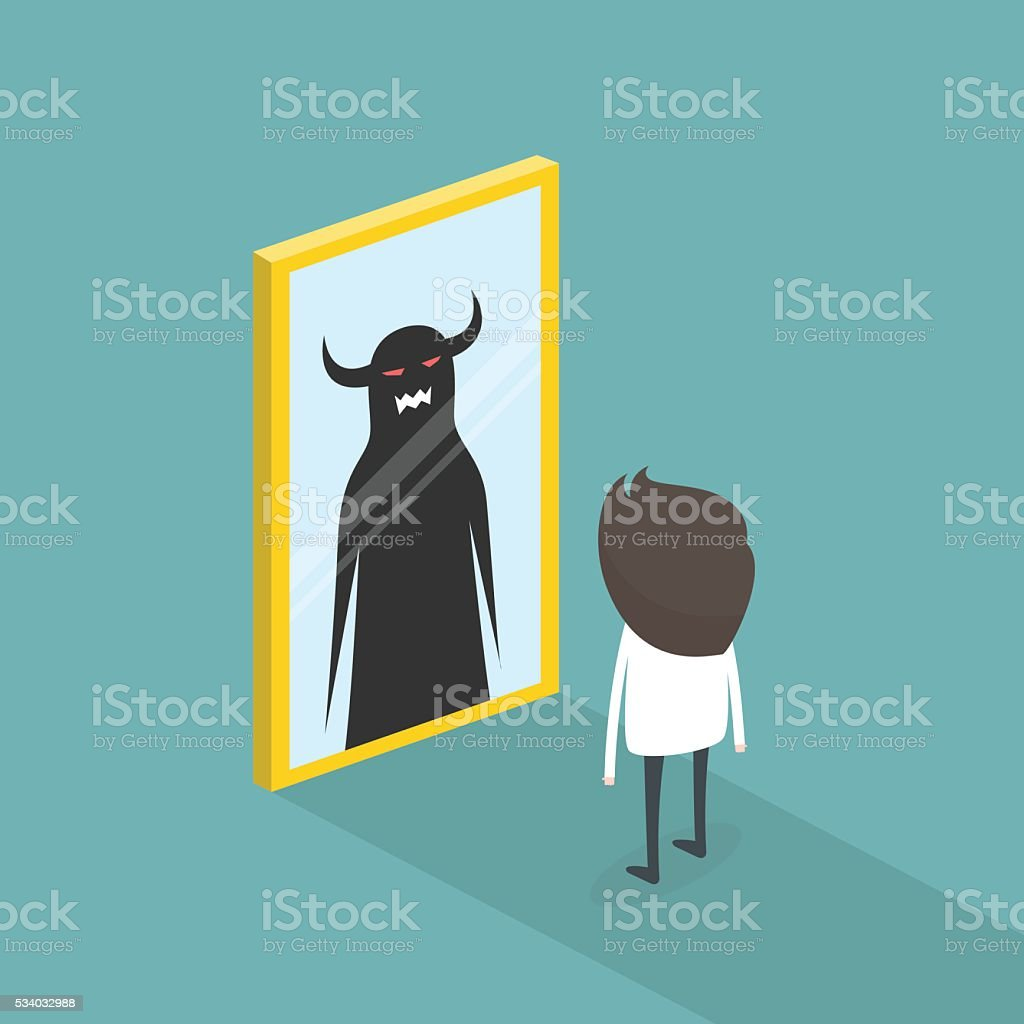 The dark side of human. The mirror concept. vector illustration vector art illustration