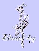 The day of the dance . Greeting card. Dance festival. Ballerina. Logo. Vector.