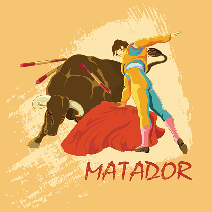 The deadly confrontation matador and the bull in the arena.