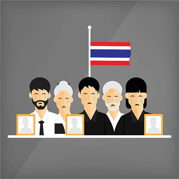 stockillustraties, clipart, cartoons en iconen met the death of the king of thailand. - funeral crying
