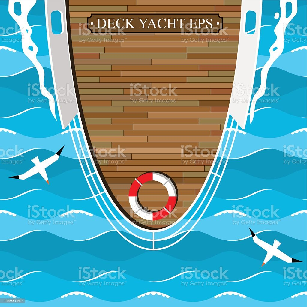 The deck boat in the blue sea. vector art illustration
