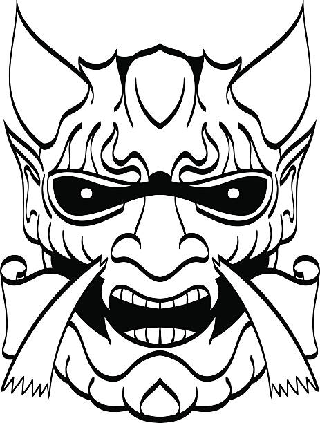 the demon's head.  black and white binary contour. vector. - denpasar stock-grafiken, -clipart, -cartoons und -symbole