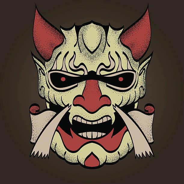 the demon's head. color. vector. - denpasar stock-grafiken, -clipart, -cartoons und -symbole