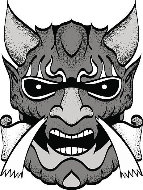 the demon's head.  vector. - denpasar stock-grafiken, -clipart, -cartoons und -symbole