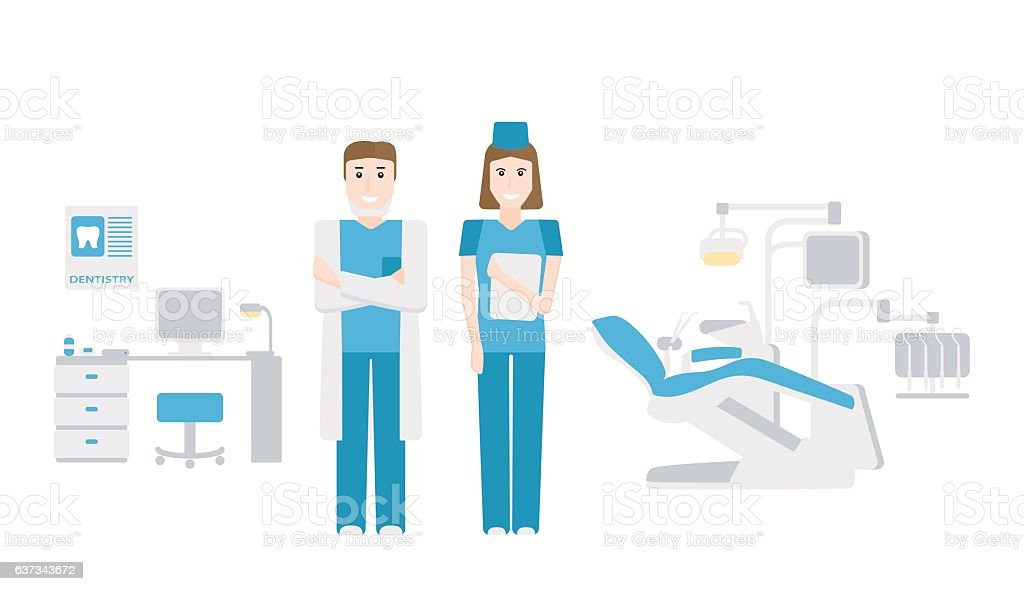 The dentist's office vector art illustration