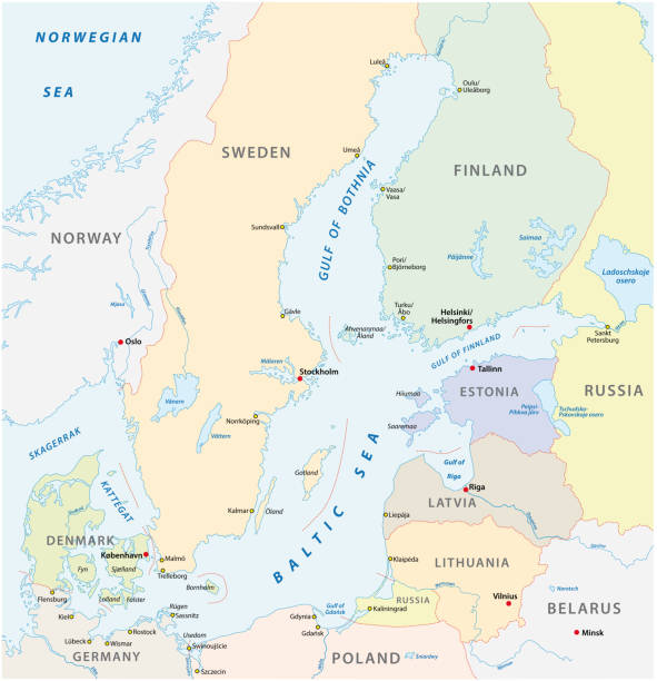 detailkarte der ostsee-region - ostsee stock-grafiken, -clipart, -cartoons und -symbole