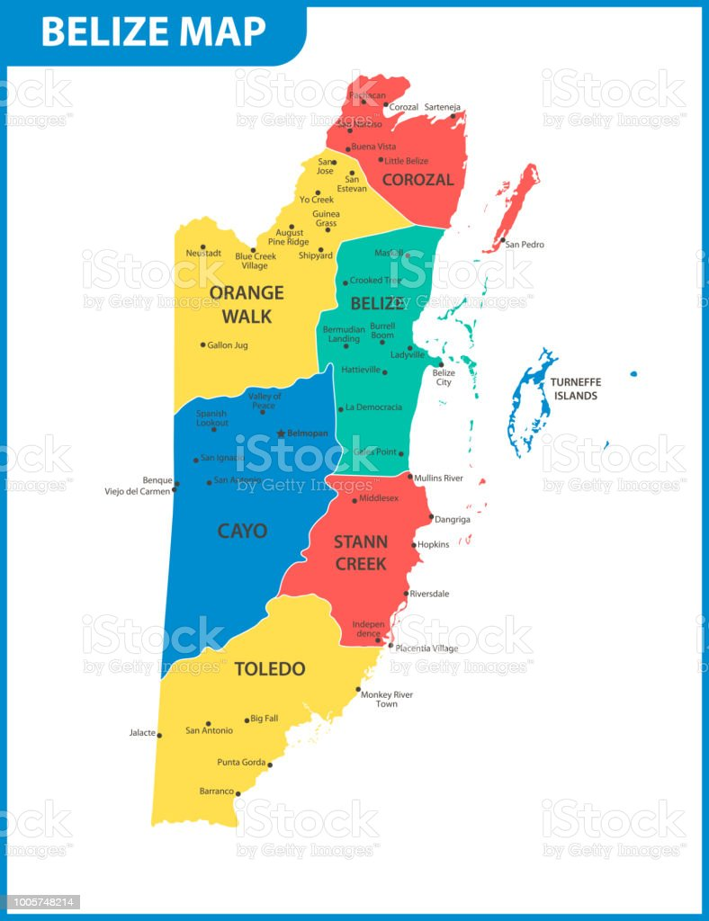 The detailed map of belize with regions or states and cities capital chart map world map belize belmopan gumiabroncs Choice Image