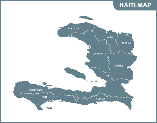 The detailed map of Haiti with regions or states. Administrative division. The detailed map of Haiti with regions or states. Administrative division. haiti stock illustrations