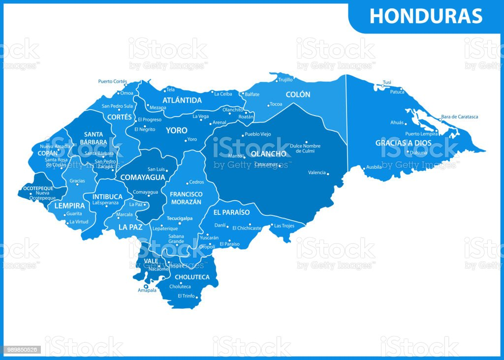 The Detailed Map Of Honduras With Regions Or States And Cities ...