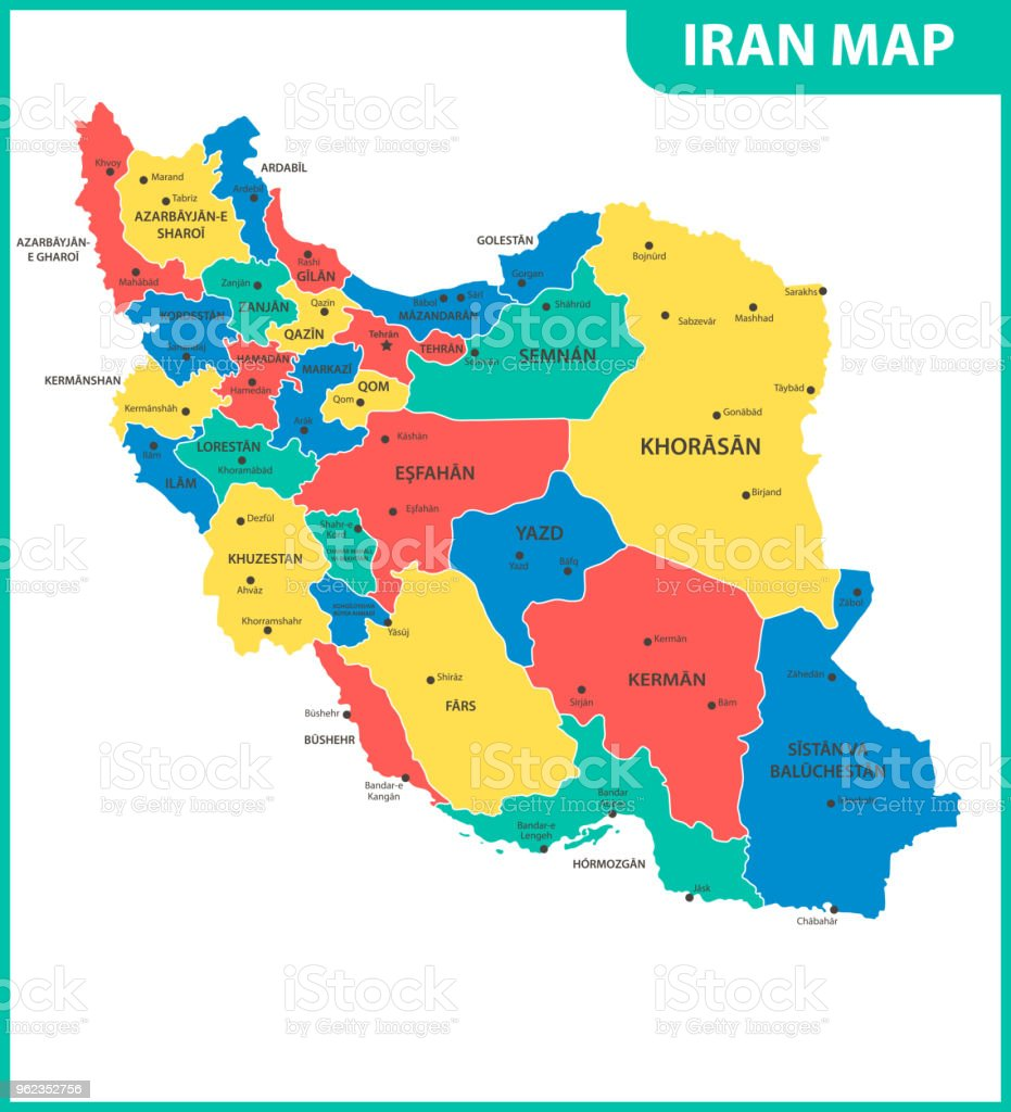 The Detailed Map Of Iran With Regions Or States And Cities ...
