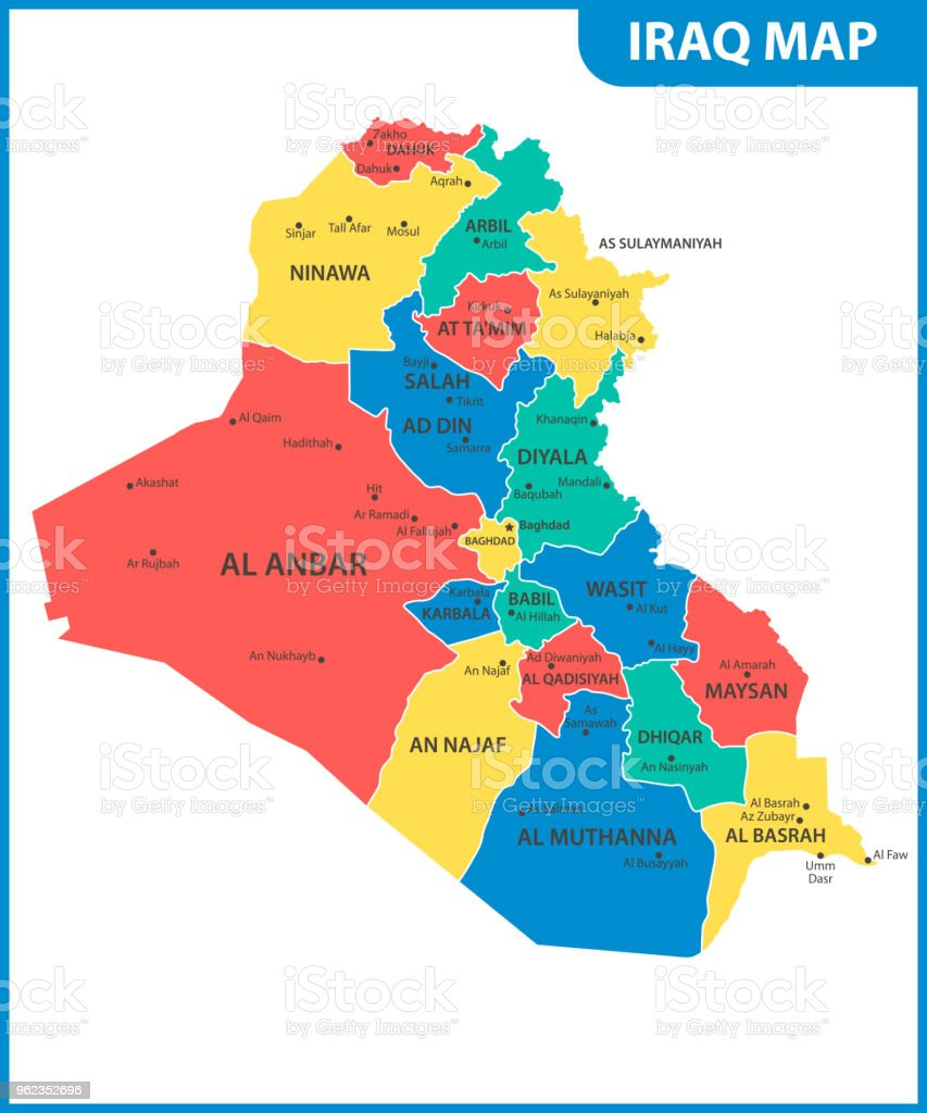 The Detailed Map Of Iraq With Regions Or States And Cities Capital ...
