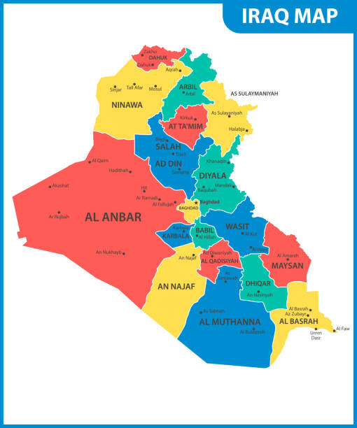 the detailed map of iraq with regions or states and cities capital administrative division