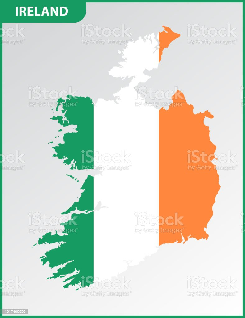 Detailed Map Of Ireland Vector.The Detailed Map Of Ireland With National Flag Stock Vector Art