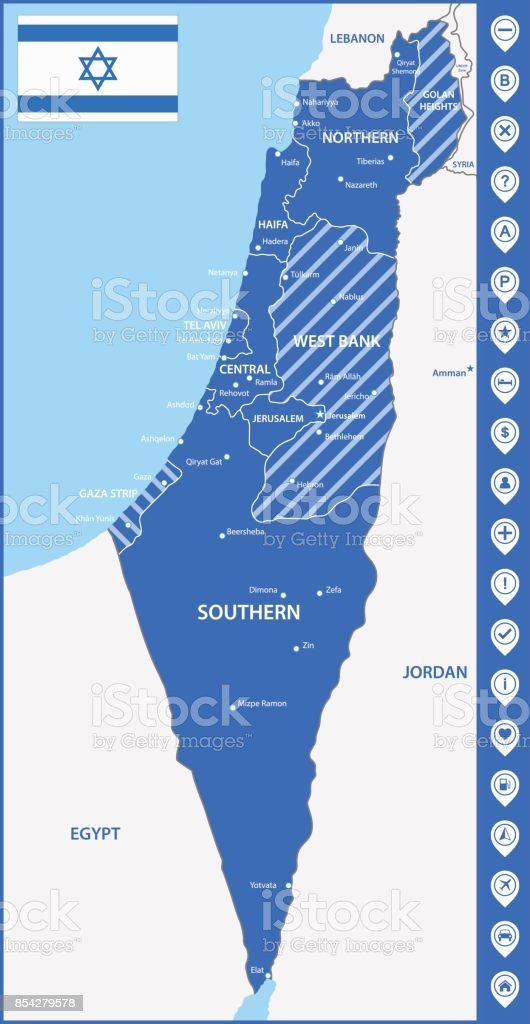 the detailed map of israel with regions or states and cities